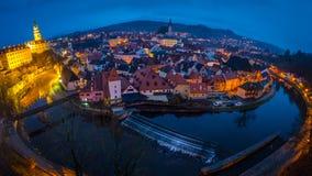 Panorama di sera di Cesky Krumlov Immagine Stock Libera da Diritti