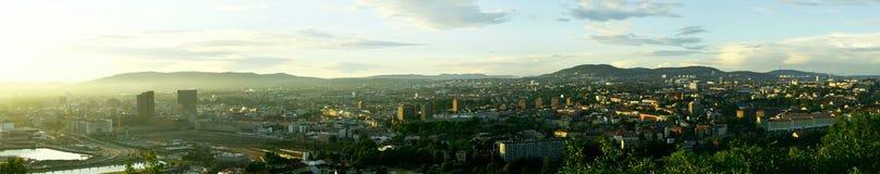 Panorama di sera di Oslo fotografia stock libera da diritti