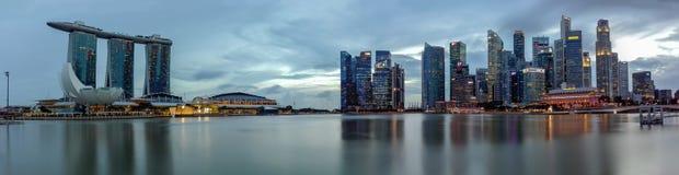 panorama di Singapore della parte anteriore marinabay Immagine Stock Libera da Diritti