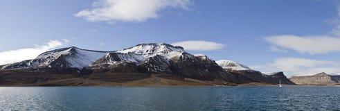 Panorama di Skansbukta, Svalbard, Norvegia Fotografie Stock Libere da Diritti