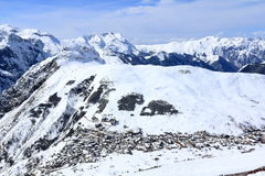 Panorama di Ski Areas, Les Deux Alpes, Francia, francese Fotografie Stock Libere da Diritti