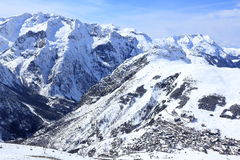 Panorama di Ski Areas, Les Deux Alpes, Francia, francese Immagine Stock Libera da Diritti