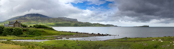 Panorama di Skye, baia di Uig Fotografia Stock