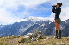 Panorama di sorveglianza di Mont Blanc Immagine Stock