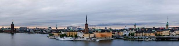 Panorama di Stoccolma ad un giorno nuvoloso Fotografia Stock