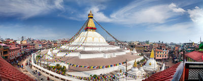 Panorama di stupa di Bodnath Fotografie Stock