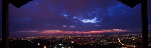 Panorama di Susnet di Atene, Grecia immagini stock libere da diritti