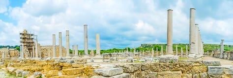 Panorama di Tholos in Perge Fotografie Stock Libere da Diritti