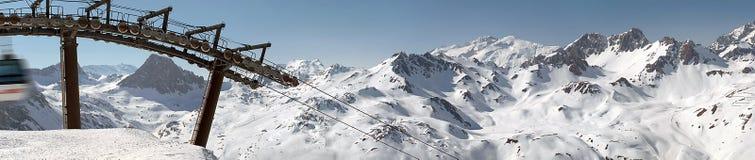 Panorama di Tignes della stazione sciistica Fotografie Stock Libere da Diritti