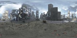Panorama di Time Square rovinato New York Manhattan HDRi Equirectangular rappresentazione 3d Fotografia Stock Libera da Diritti