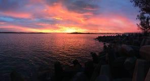 Panorama di tramonto dell'oceano Fotografia Stock Libera da Diritti