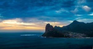 Panorama di tramonto della baia di Hout immagini stock libere da diritti