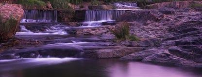 Panorama di tramonto della cascata Fotografia Stock Libera da Diritti