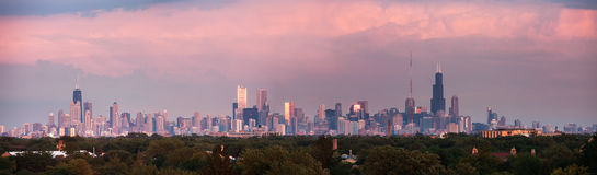Panorama di tramonto di Chicago Fotografie Stock Libere da Diritti