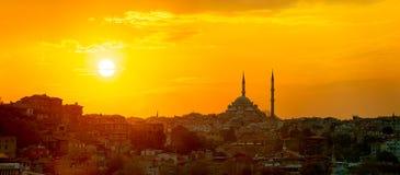 Panorama di tramonto di Costantinopoli Fotografia Stock Libera da Diritti
