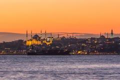 Panorama di tramonto di Costantinopoli Fotografia Stock