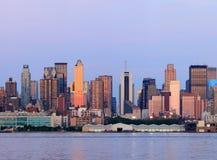 Panorama di tramonto di New York City Manhattan Fotografia Stock