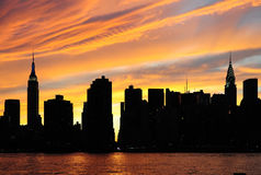 Panorama di tramonto di New York City Manhattan Immagini Stock