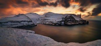 Panorama di tramonto di Stakkur Fotografie Stock