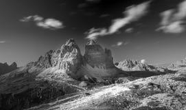 Panorama di Tre Cime Di Lavaredo, alpi dell'Italia Fotografia Stock Libera da Diritti