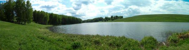 Panorama di un prato di estate con un fiume Fotografie Stock Libere da Diritti