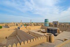 Panorama di una città antica di Khiva immagine stock libera da diritti