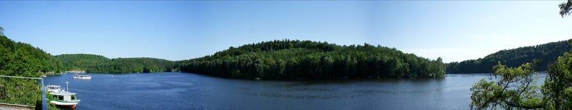 Panorama di una diga in Sassonia Fotografia Stock Libera da Diritti
