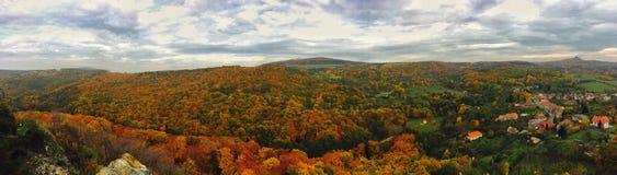 Panorama di una foresta e di un villaggio in autunno Immagini Stock