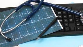Panorama di una tastiera con gli oggetti medici sopra video d archivio