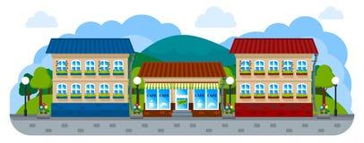 Panorama di una via della città con un caffè in uno stile piano Immagine Stock Libera da Diritti