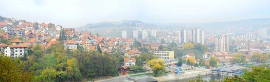 Panorama di Uzice, Serbia Fotografia Stock Libera da Diritti