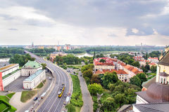 Panorama di Varsavia in Polonia, stadio nazionale Immagine Stock