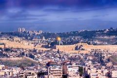 Panorama di vecchi città di Gerusalemme e Temple Mount, Israele Immagine Stock Libera da Diritti