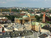 Panorama di vecchia città Cracovia Fotografia Stock Libera da Diritti