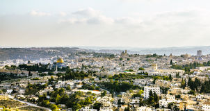 Panorama di vecchia città dal monte degli Ulivi, Gerusalemme Isr immagine stock libera da diritti