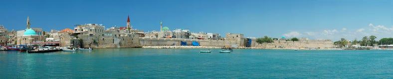 Panorama di vecchia città di Akko, Israele Immagini Stock Libere da Diritti