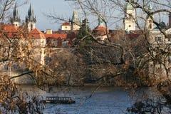 Panorama di vecchia città a Praga Fotografia Stock