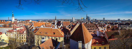 Panorama di vecchia città Tallinn Fotografie Stock Libere da Diritti