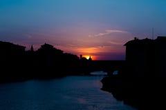 Panorama di vecchio del ponte di sera Fotografia Stock