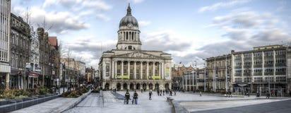 Panorama di vecchio quadrato del mercato, Nottingham immagini stock libere da diritti
