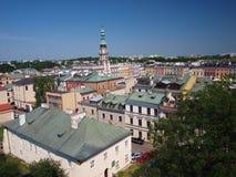 Panorama di vecchio Zamosc, Polonia Fotografia Stock Libera da Diritti
