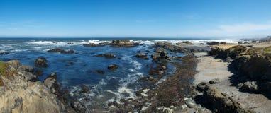 Panorama di vetro della spiaggia Fotografie Stock