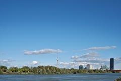 Panorama di Vienna Danubio Immagine Stock