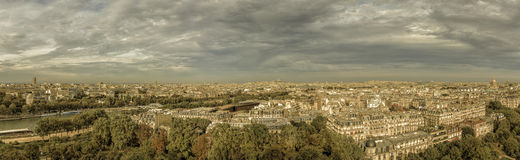 Panorama di vista aerea di Parigi Immagini Stock Libere da Diritti