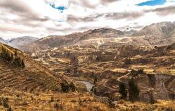 Panorama di vista del canyon di Colca Immagini Stock Libere da Diritti