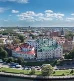Panorama di Vyborg dalla torre dell'allerta nel castello di Vyborg Immagini Stock