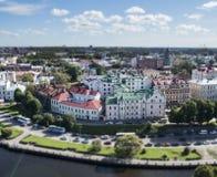 Panorama di Vyborg dalla torre dell'allerta nel castello di Vyborg Effetto dello spostamento di inclinazione Fotografie Stock Libere da Diritti