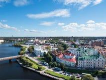 Panorama di Vyborg dalla torre dell'allerta nel castello di Vyborg in Vyborg, Russia Fotografia Stock Libera da Diritti
