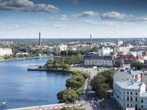 Panorama di Vyborg dalla torre dell'allerta nel castello di Vyborg in Vyborg, Russia Immagine Stock