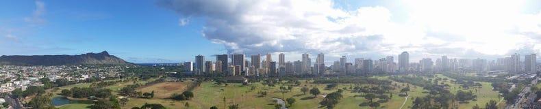 Panorama di Waikiki fotografie stock libere da diritti